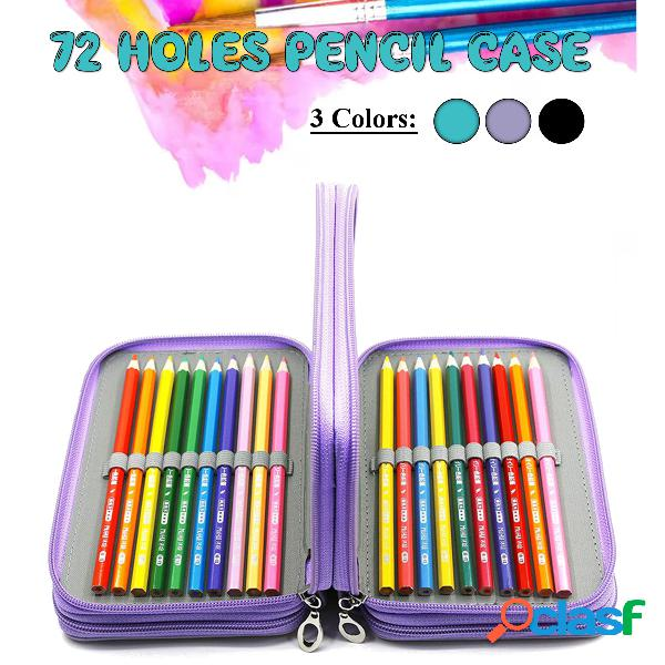 Lápis escolar caso 72 furos lápis penal caso para meninas meninos caneta bolsa grandes penalidades de cartucho