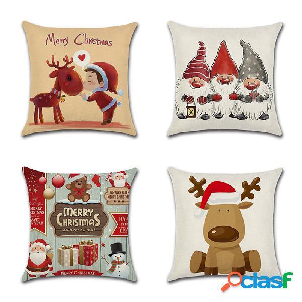 Retro cartoon santa elk com estampa de linho e capa de almofada para sofá doméstico soft fronhas decorativas artísticas