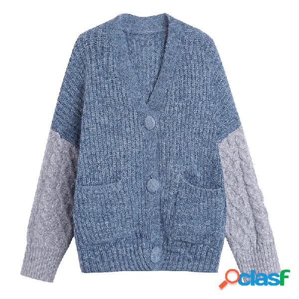 Sweater coat stitching loose harajuku wind sweater cardigan