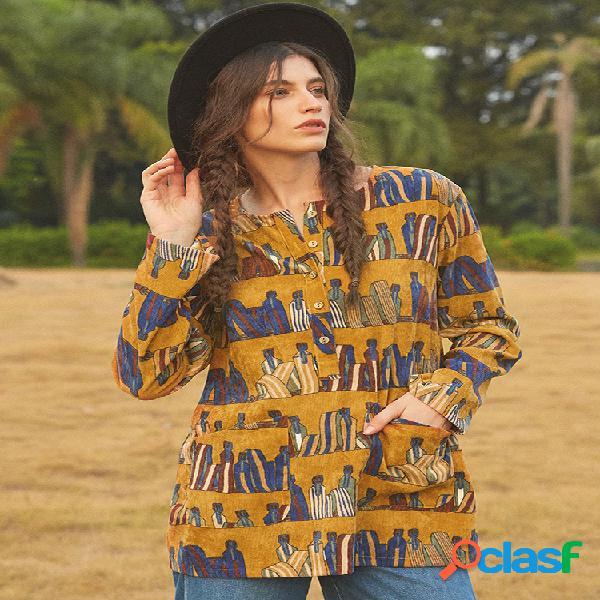 Veludo de algodão vintage com mangas compridas e mangas compridas camisa