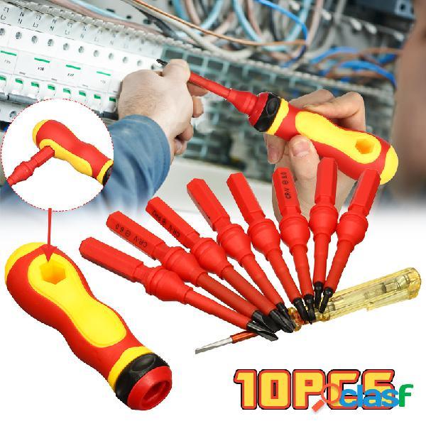 10pcs 500v ferramentas de reparo de kit de chave de fenda de mão isoladas eletrônicas