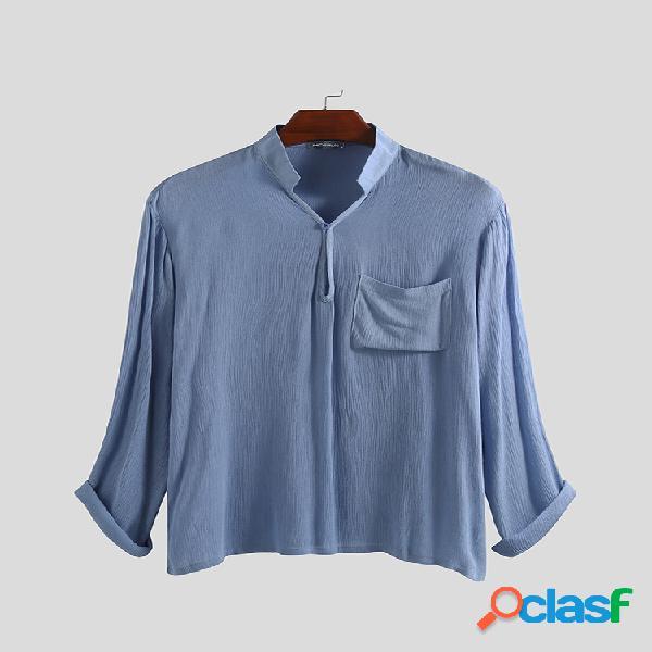 Algodão de linho para homens casual slim fit bolsos no peito camisetas casuais