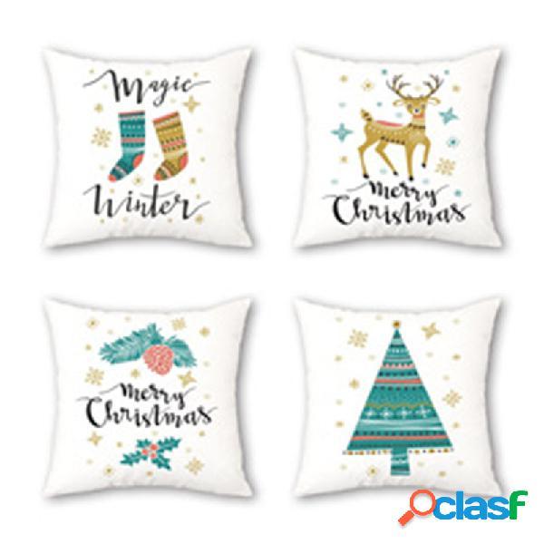 Árvore de natal estilo ins elk padrão capa de almofada de linho sofá doméstico fronhas decoradas com arte