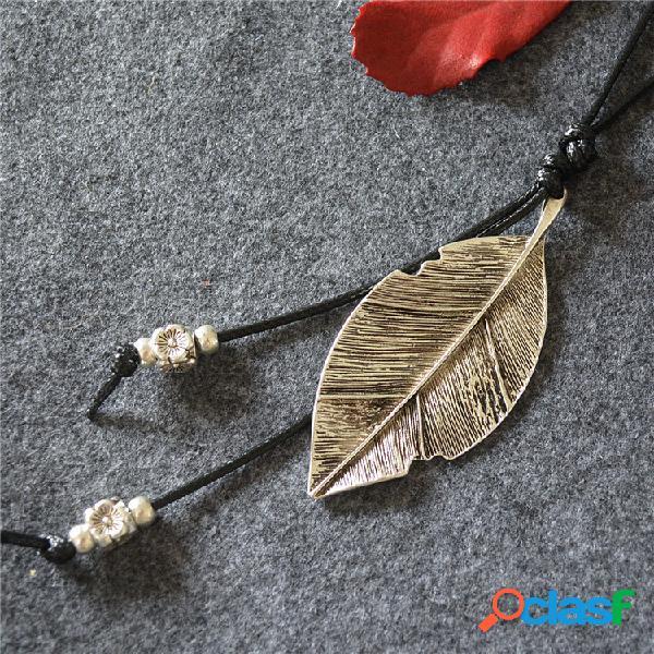Borla do vintage pingente colar de metal folha pingente colar longo camisola cadeia de jóias étnicas