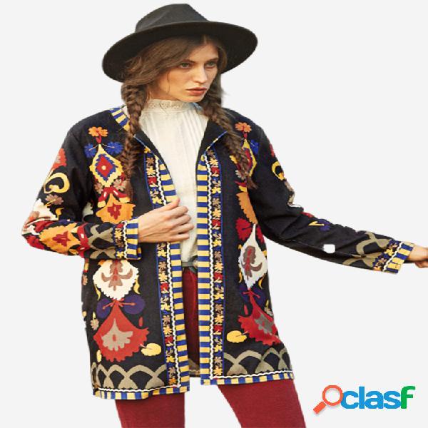 Casaco de manga comprida de veludo cotelê com estampa vintage para mulheres