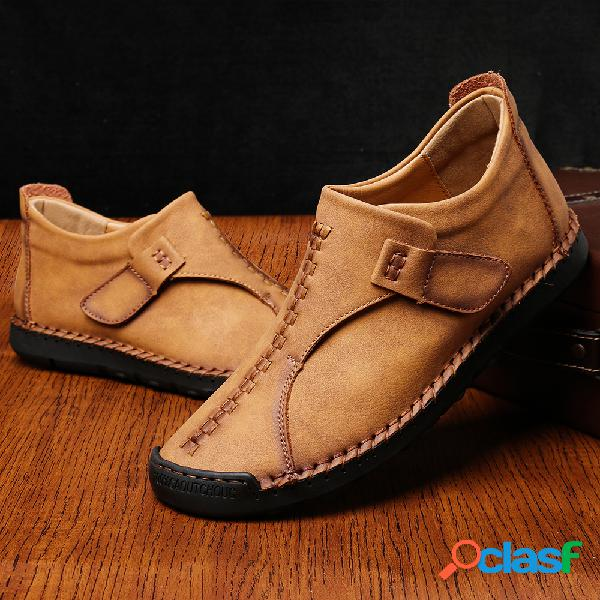 Homens vintage microfiber couro costura à mão gancho loop ankle boots casual