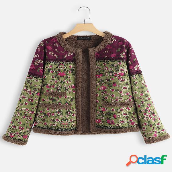 Jaqueta de manga comprida em patch de estampa floral vintage