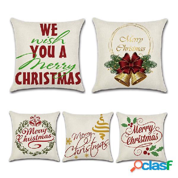 Retro merry christmas padrão fronha de almofada de linho algodão sofá doméstico assento de escritório fronhas