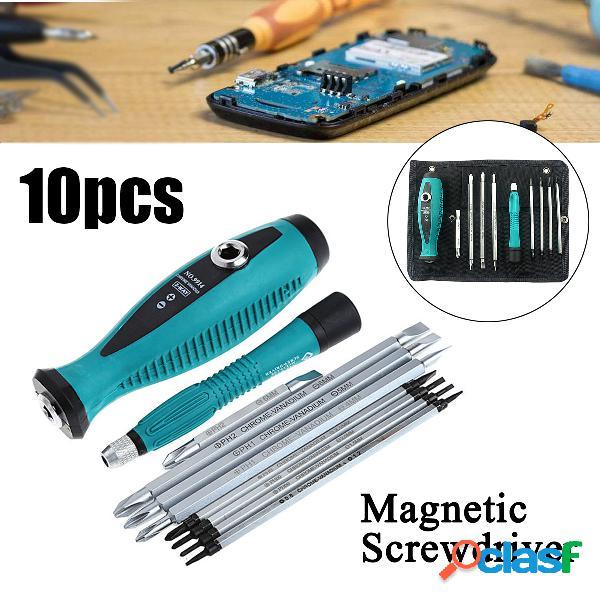 10pcs chave de fenda magnética de precisão set phillips slotted star bits repair tools