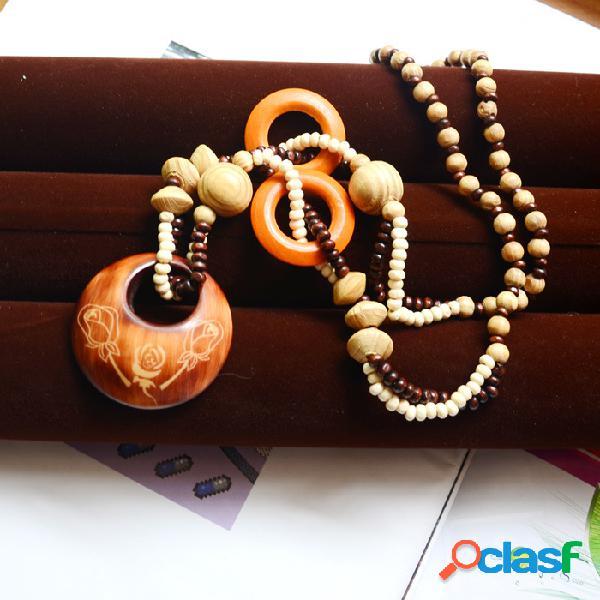 Bohemian hollow round pingente colar de contas de madeira natural suéter corrente jóias étnicas