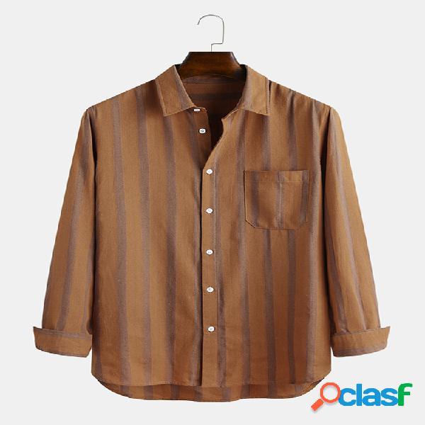 Bolso de peito de lapela de manga comprida de algodão listrado masculino camisa