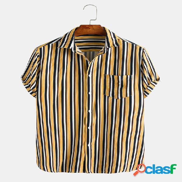 Camisas casuais de manga curta com estampa de riscas masculinas no peito