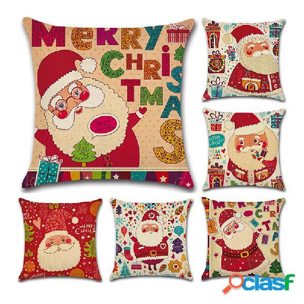 Cartoon christmas santa padrão fronha de almofada de linho algodão, sofá doméstico, decoração de arte de natal