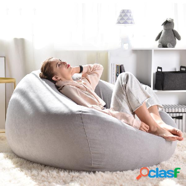 Lazy sofas cover cadeiras linho pano espreguiçadeira feijão bolsa pufe puff sofá tatami living room