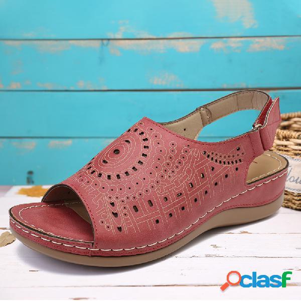 Lostisy peep toe padrão gancho sandálias slingback de cunhas casuais com laço