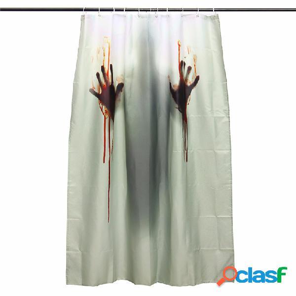 Cortina de banho de poliéster de 2 tamanhos para halloween horror blood bath banheiro decoração com 12 ganchos