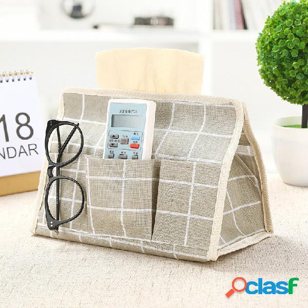 Tecido de linho de algodão caixa controle remoto armazenamento caixa bandeja criativa do desktop da sala de visitas da tela home