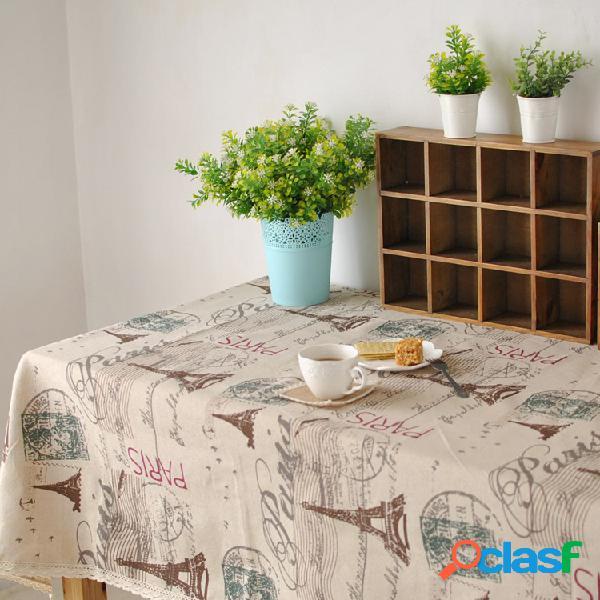 Paris torre eiffel padrão café algodão roupa de mesa louça tablerunner toalha de mesa cobertura de mesa