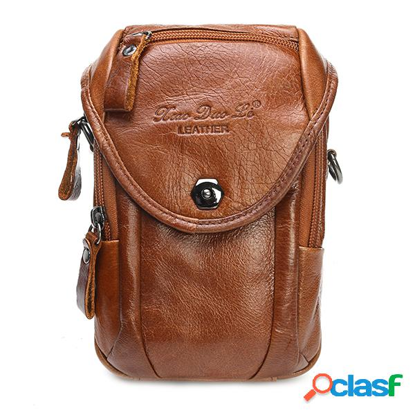 Cintura multi-funcional bolsa couro genuíno sling bolsa crossbody bolsa para homens