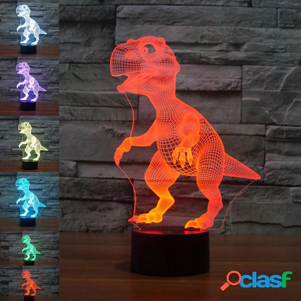 Dinosaur colorful 3d led lights usb bateria touch control night light decoração de casa