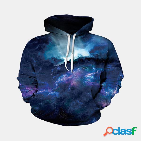 Moletom masculino de moda 3d nebulosa estampada colorida