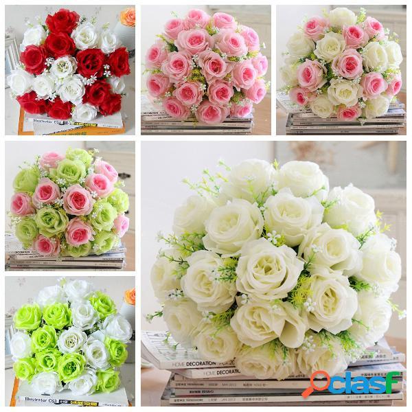 18 cabeças de seda artificial rose flores wedding bride bonquet casa quarto decoração