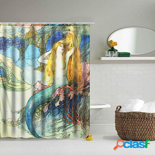 """59 * 70 """"mermaid art cortina de banho bonita cena com 12 ganchos waterproof bathroom decor"""