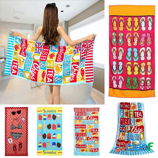 70x150cm impressão colorida de desenhos animados toalhas de praia de limpeza rápida toalha de banho de microfibra absorvente