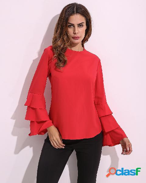 Blusa elegangte de luva orador dobrar de cor sólida para mulheres