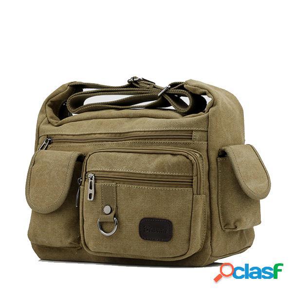 Bolsa transversal de lona de retalhos multi bolsos para viagem