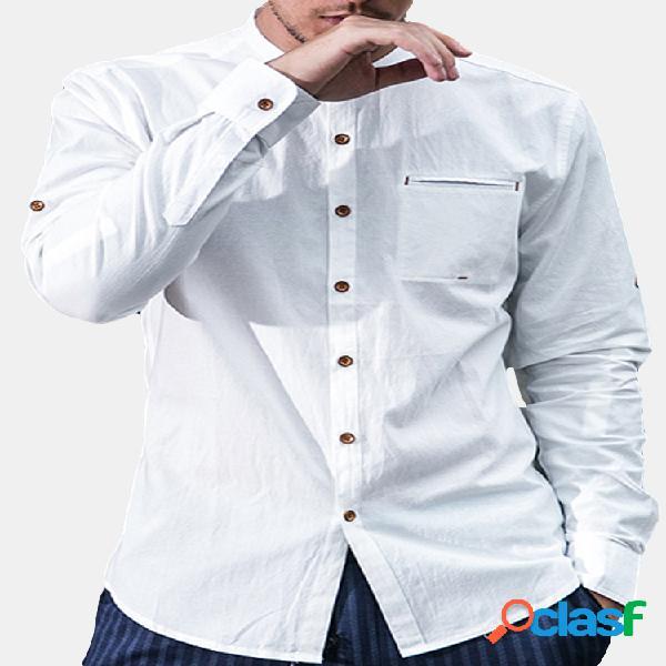 Camisa estilo chinês bolso no peito linho de algodão gola alta masculina
