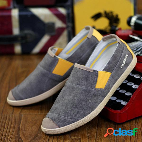 Color mix canvas toe protegendo lazy casual slip on flat loafers for men