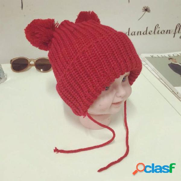 Crianças meninos menina infantil criança cor sólida malha chapéu cute hairball beanie cap