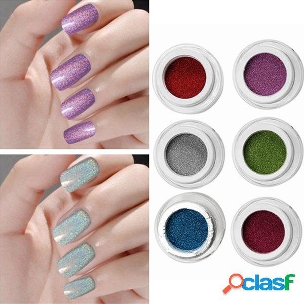1pc holographic nail art laser powder glitter holo diy chrome pigments 6 cores