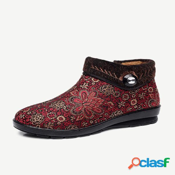 Botas curtas para mulheres com forro de pele com zíper floral quente no tornozelo