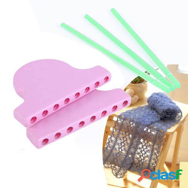 Cachecol lace knitting loom diy tricô trabalho flor bowknot tassel ferramentas de tecelagem