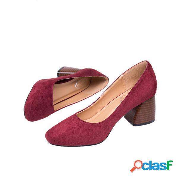 Calçados casuais vintage cor pura salto quadrado de camurça