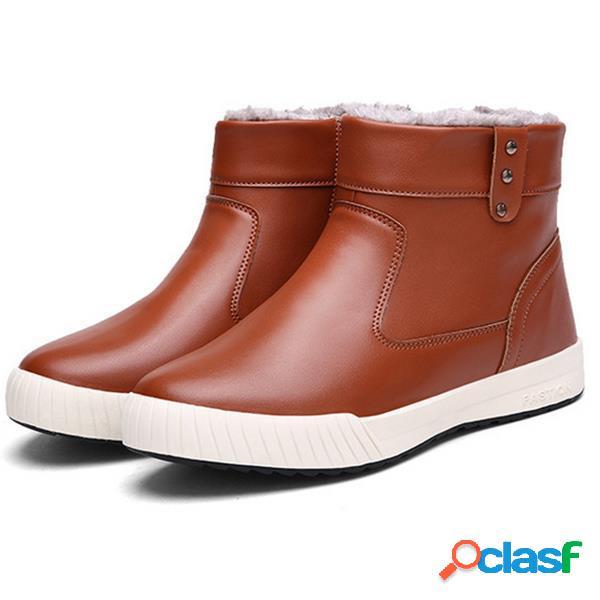 Homens lado britânico zipper forro de pele quente não-deslizamento neve ankle boots casuais