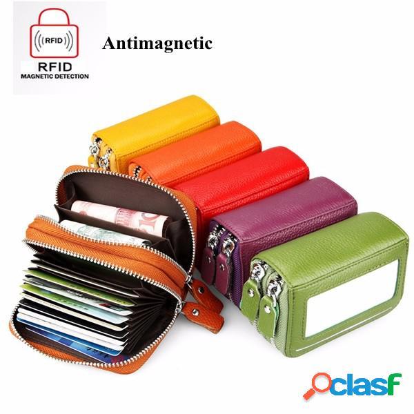 Rfid antimagnético couro genuíno 11 cores 11 cartão slots titular do cartão bolsa