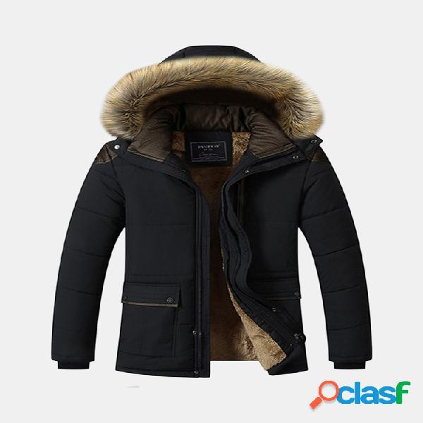 Casaco acolchoado de pele com capuz removível para inverno ao ar livre engrossar ombro