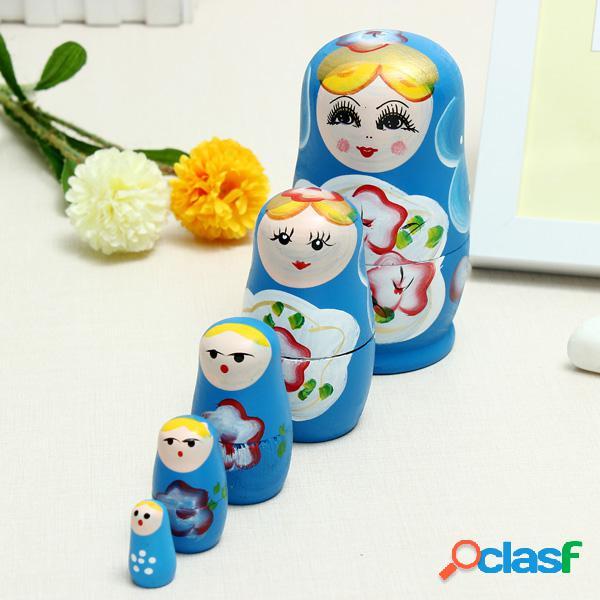 Conjunto de 5 peças adorável russa matryoshka madeira boneca conjunto de brinquedos complicados presente criativo
