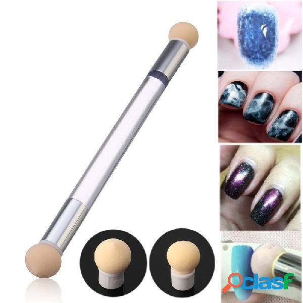 Dupla cabeça nail art esponja pen phototherapy stippling brush gradient shading pencil removable