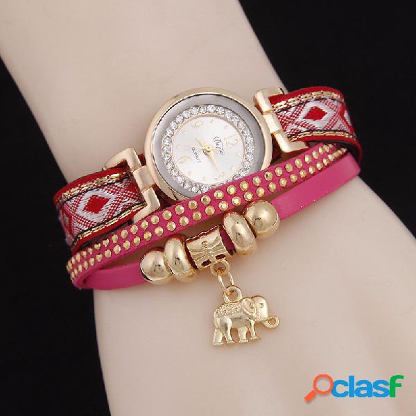 Relógio com pingente de elefante pulseira de couro