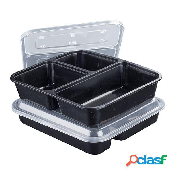 10 lancheiras descartáveis da caixa da refeição da preparação bpa livram a grelha plástica das lancheiras das caixas três