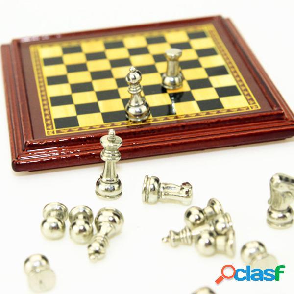 1:12 scale dollhouse miniatura metal chess set board brinquedos home room ornaments