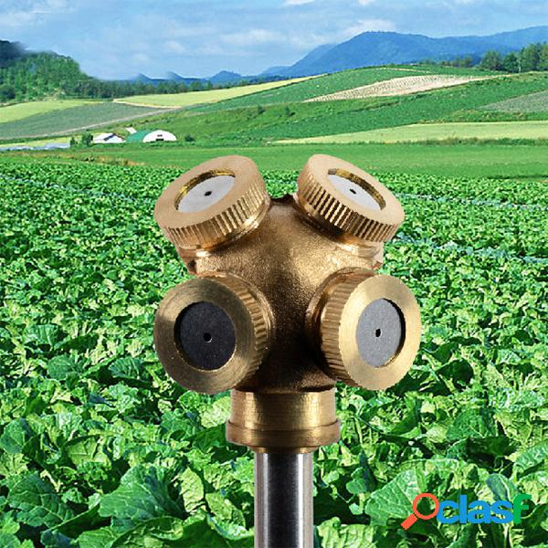 Bico de pulverização de latão de 4 buracos de 1/4 de polegada e orifício de irrigação para irrigação de jardim
