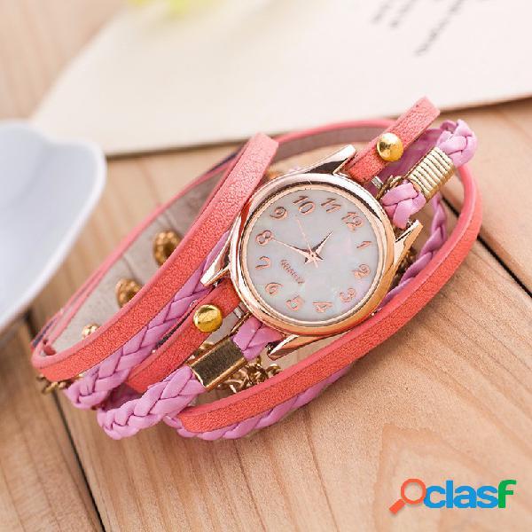 Relógio com pulseira multicamada pu couro
