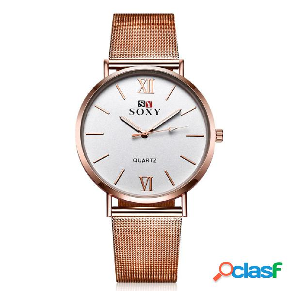 Relógio soxy vintage watch simple alloy rose gold women watch