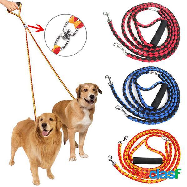 3 cores trela dupla para dois cães trela dupla trela acoplador para cães ambulantes