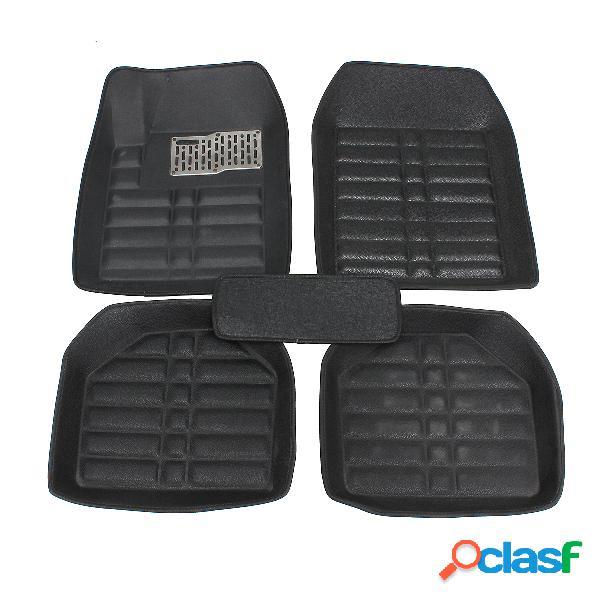5 pcs almofadas de pé de couro do carro frente & rear liner à prova d 'água todos os tempo universal auto tapetes tapete